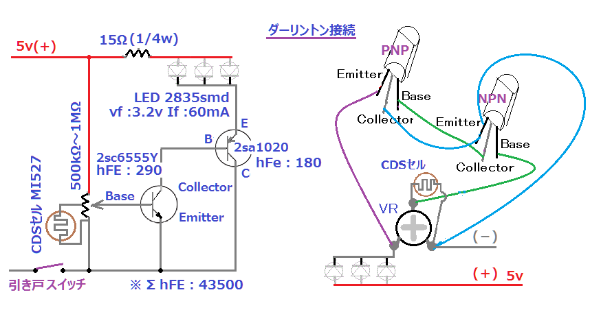 引き戸ライト(CDS制御 LED・ダーリントン接続実験).png